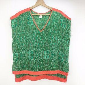 Sundance Catalog Women's Green Print V-neck Blouse